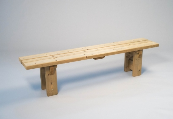 Country bench with back